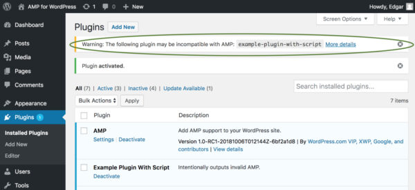Warning displays when activating plugin if it outputs invalid AMP