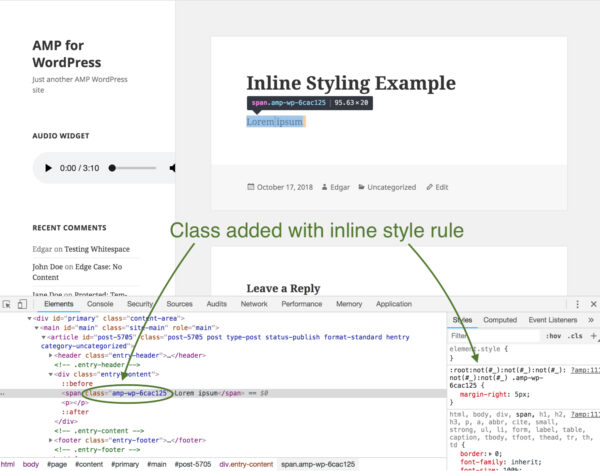 Inline Styling Example showing class added with inline style rule