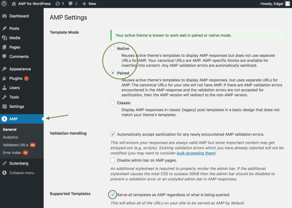 AMP Settings page