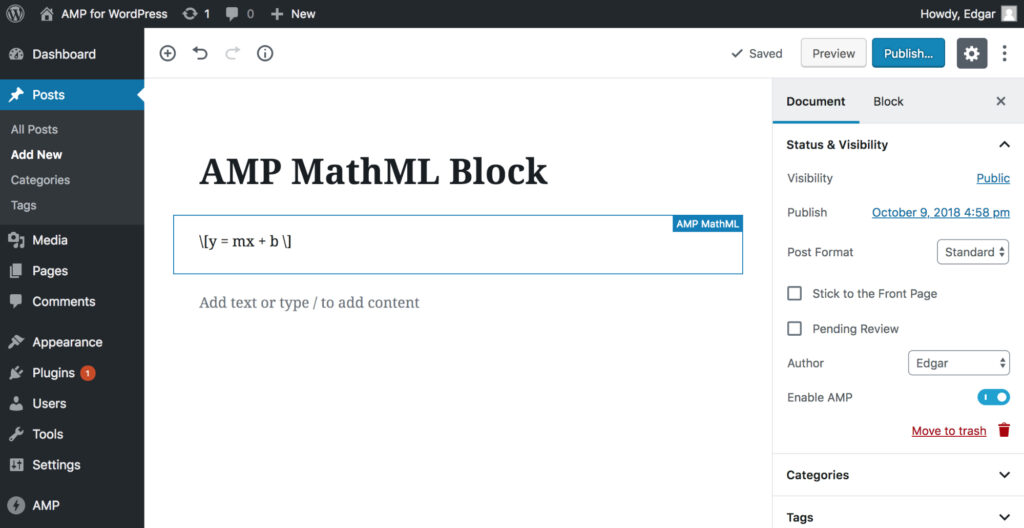 Example Custom Block AMP MathML Block