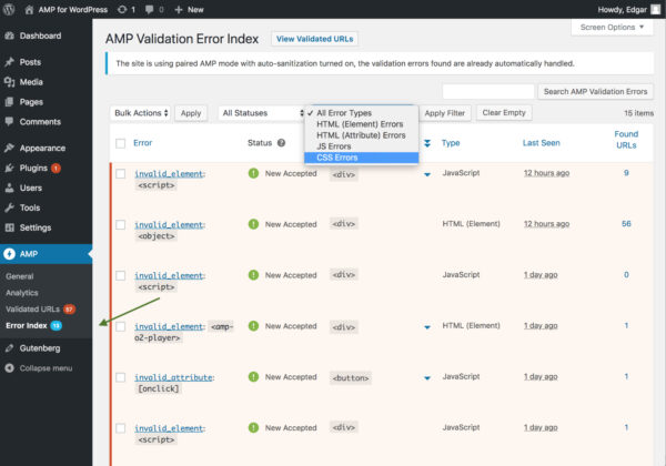 Filter by Error type in the AMP Validation Error index
