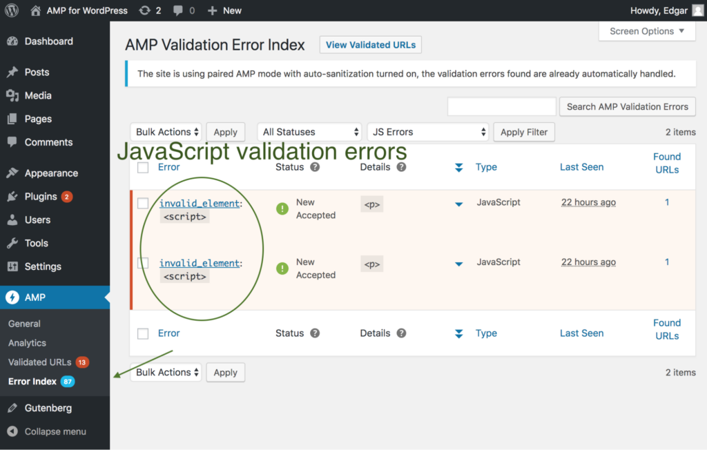 Plugin displays validation error alerts