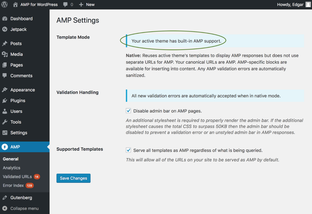 AMP Settings page, built in support for support for AMP