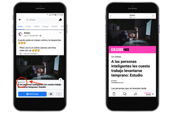 Mobile view of Erizos post as Facebook Instant Article