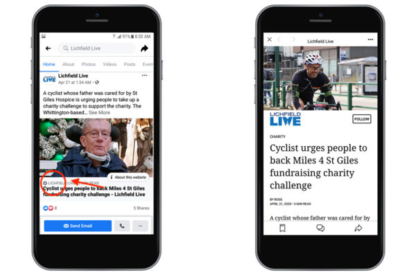 Mobile view Lichfield Live post in Facebook as Instant Article
