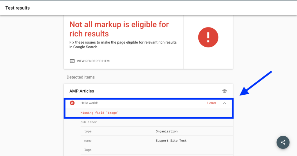 Invalid page in AMP test tool with error highlighted