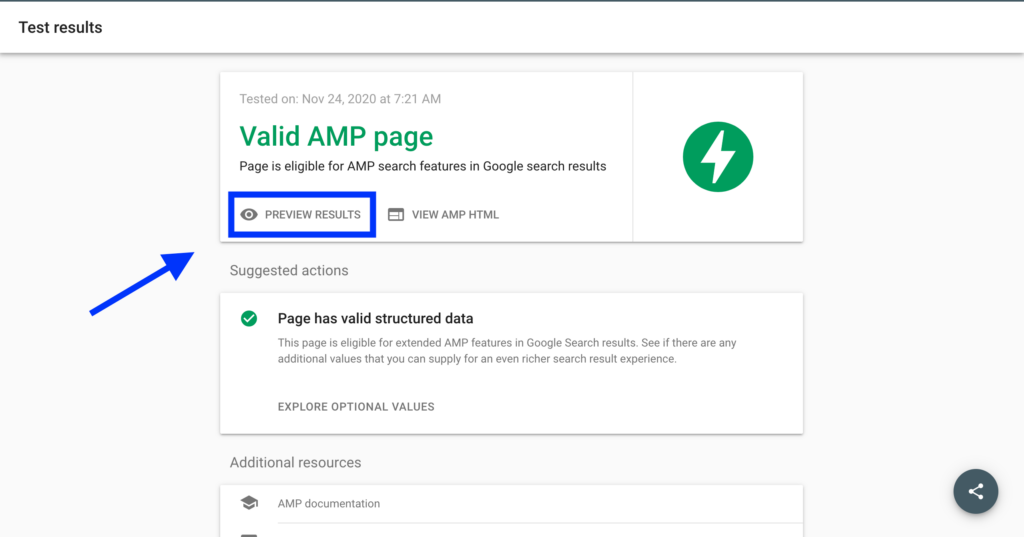 Valid AMP page in AMP test tool with preview results link highlighted