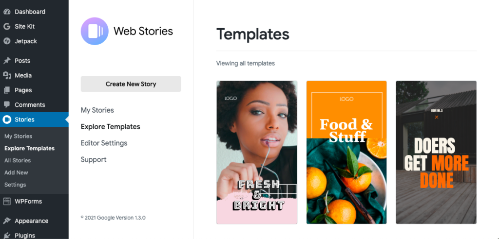 Explore Templates section in the plugin dashboard