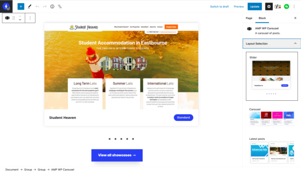 AMP WP Carousel Backend Preview