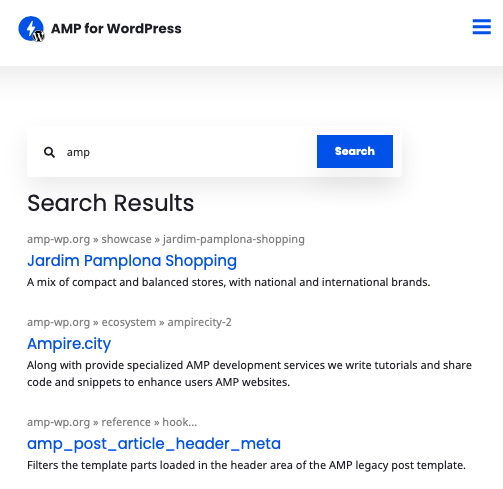 AMP WP Site Search Page